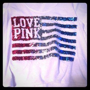 VS Pink American Flag sequin tank top